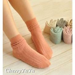 櫻桃兔兔 - 羊毛短襪子