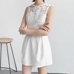 Tansy - Sleeveless Lace Panel Playsuit