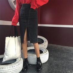 Anlay - 修身絨面開叉高腰包臀牛仔半身裙