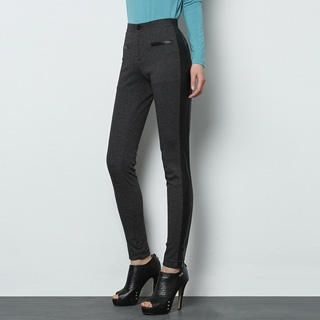 O.SA - Faux Leather-Panel Houndstooth Skinny Pants