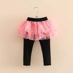 Seashells Kids - Kids Inset Tulle Skirt Leggings
