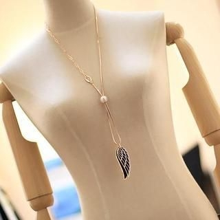 Love Generation - Wing Faux-Pearl Long Necklace