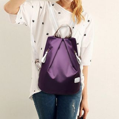 Tasche - Set: Plain Nylon Backpack + Zip Pouch