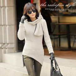 REDOPIN - Tie-Neck Side-Slit Sweater