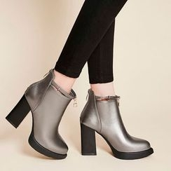 Pangmama - Platform Chunky-Heel Ankle Boots