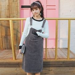 Morever - Pocket-Accent Jumper Dress