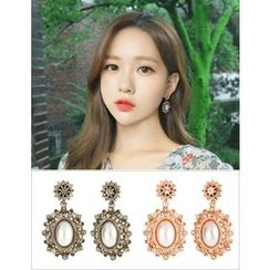 soo n soo - Rhinestone Faux-Pearl Statement Earrings