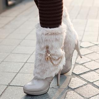 77Queen - Faux-Fur-Trim Patent Mid-Calf Boots