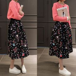 NIPONJJUYA - Band-Waist Patterned Long Skirt