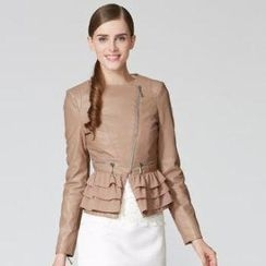 O.SA - Faux-Leather Ruffled Jacket