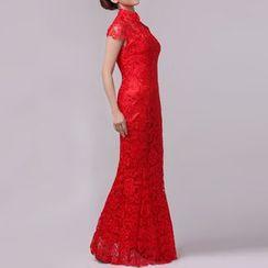 Bridal Workshop - 盖袖中式领蕾丝鱼尾礼服