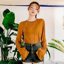 chuu - Long-Sleeve Sheer T-Shirt