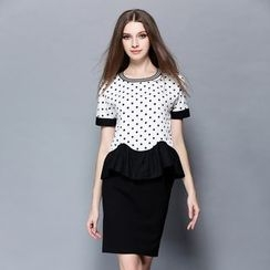 Cherry Dress - Set: Dotted Panel Short-Sleeve Top + Skirt