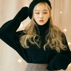 chuu - Turtle-Neck Drop-Shoulder Sweater