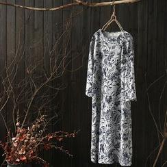 Rosadame - 印花中式钮扣连衣裙