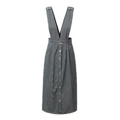 Chicsense - Striped Suspender Denim Skirt