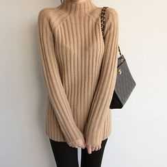 NIPONJJUYA - Mock-Neck Rib-Knit Top