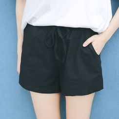 Rabbitstyle - Drawstring-Waist Shorts
