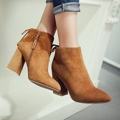 Gizmal Boots - Tie Back Chunky Heel Ankle Boots