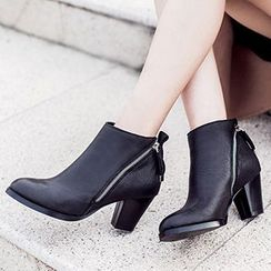 Gizmal Boots - Side Zip Chunky Heel Ankle Boots