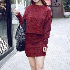 Jolly Club - Set: Melange Sweater + Knit Miniskirt
