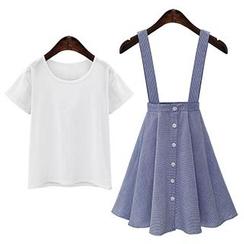 Sugar Town - Set: Plain Short-Sleeve T-Shirt + Stripe Suspender Skirt