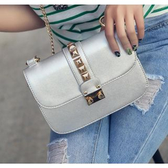 Youshine - Studded Faux Leather Mini Shoulder Bag