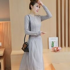 Romantica - Long-Sleeve Knit-Panel Dress