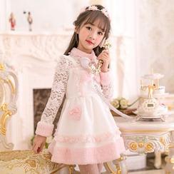糖果雨 - 童装蕾丝拼接长袖连衣裙