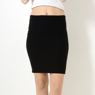 59 Seconds - Elastic-Waist Slit-Back Pencil Skirt