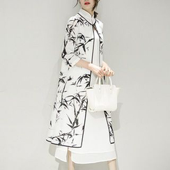 Diosa - Set: 3/4-Sleeve Print Jacket + Sleeveless A-line Midi Dress