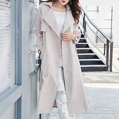 Queen Bee - Double-Breasted Trench Coat with Sash