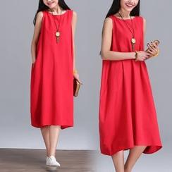 Diosa - Sleeveless Linen Midi Dress