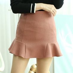 Dodostyle - Ruffle-Hem A-Line Skirt