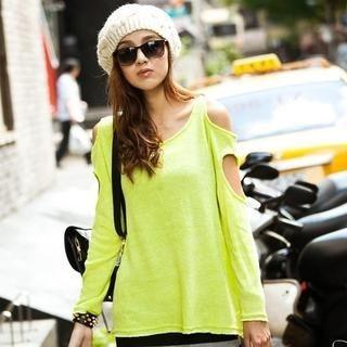 PUFII - Neon Cutout-Sleeve T-Shirt