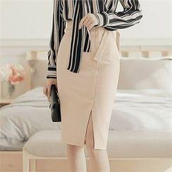 CHICLINE - Ribbon-Waisted Skirt