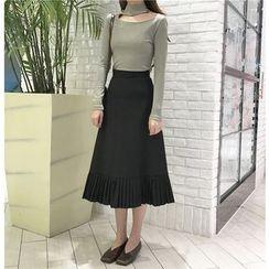 Bloombloom - Pleated Hem Midi Skirt