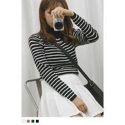 10WORLD - Mock-Neck Striped Knit Top