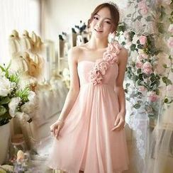 Luxury Style - One-Shoulder Rosette Party Dress