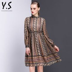 Y:Q - Patterned Long-Sleeve A-Line Dress