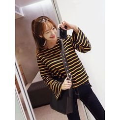 hellopeco - Round-Neck Striped T-Shirt
