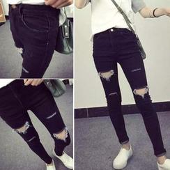 IndiGirl - Distressed Skinny Jeans