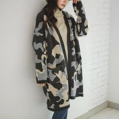 JUSTONE - Camouflage Wool Blend Long Cardigan