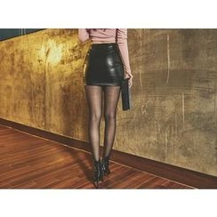 UUZONE - Faux-Leather Asymmetric-Hem Mini Skirt