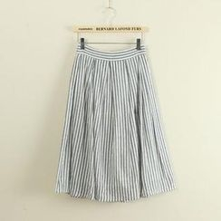 Mushi - Striped Midi Skirt
