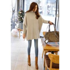 REDOPIN - Turtle-Neck Drop-Shoulder Sweater