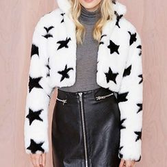 Obel - Star Cropped Furry Jacket