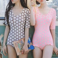 Moonrise Swimwear - Elbow-Sleeve Dotted Swimsuit