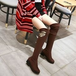 Pretty in Boots - Rhinestone Floral Print Block Heel Over-the-Knee Boots