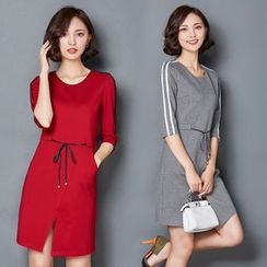 AiSun - Striped 3/4 Sleeve Shift Dress